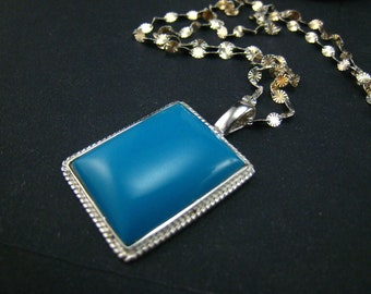 Blue turquoise pendant,sterling silver chain