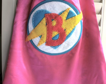 Girls Superhero Cape -PERSONALIZE/CUSTOMIZE - Superhero Costume Heart & Lightening Bolt- Superhero Birthday Party