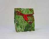 Red Green Damask Christmas Fabric Gift Bag GiftAgain Mini