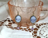 Cameo Earrings Dangle Lavender