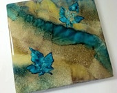 NW AUTUMN-  in turquoise, gray brown - Original Art Tile-  unique gifts under 10