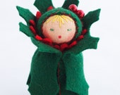 Felt Christmas Ornament Doll - Holly Berry - Miniature Green Red Decor