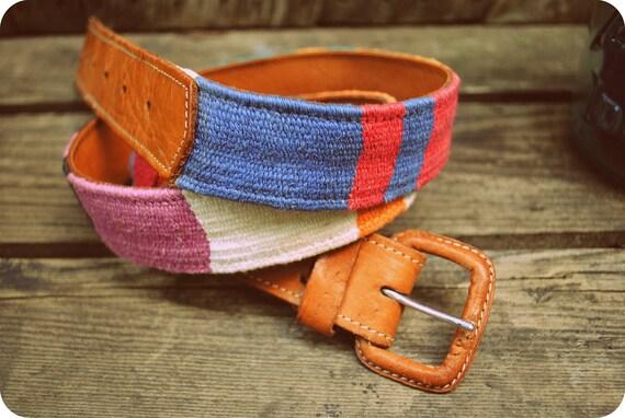 Vintage Woven Rainbow Tribal Belt
