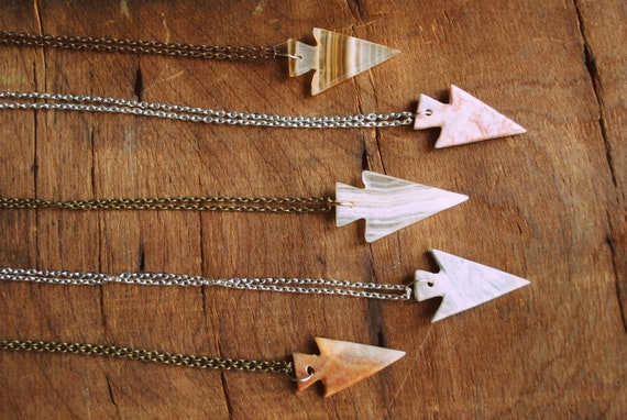RESERVED FOR MCKENZIE Give Me Strength Agate Arrowhead Necklace