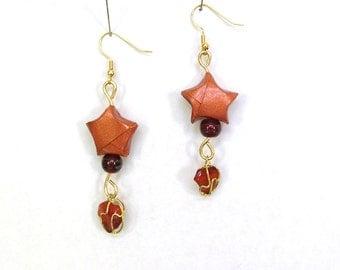 Origami Earrings - Boho Earrings - Lucky Star Copper Paper Earrings - Gypsy Jewelry - Paper Anniversary - Boho Jewelry