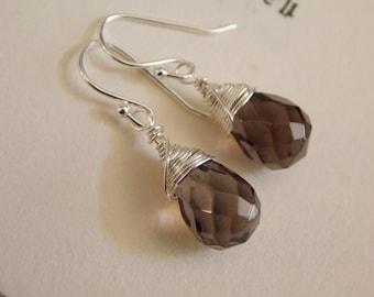 Smokey Quartz Faceted Briolette Earrings