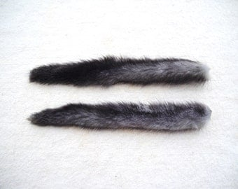 "Real ""Blue"" Mink Tail 10"" to 11"" Fur Totem Keychain Key Ring Ornament for Purse, Anime Costume, Etc"