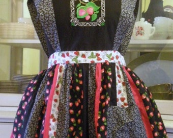 Pinafore Style Apron with a Vintage Flair, Embroidered, Patchwork, Quilted Piecing, Vintage Fabric, Strawberry.  JUST REDUCED WAS 75 dollars