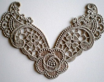 Beautiful Embroidered Lace Applique Neckline, Wild Rose Motif, Jewelry, Crazy Quilts, Necklace, Crafts
