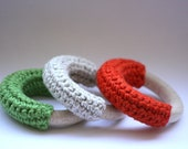 Hand Crocheted Wooden and Flax Baby Teething Rings -Set of Three- Green-Natural-Red
