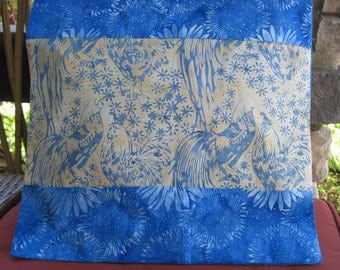 """14"""" x 14"""" PILLOW COVER Cheery Farmer's Garden Sunflowers Blues Roosters of Fine Cotton Batiks"""