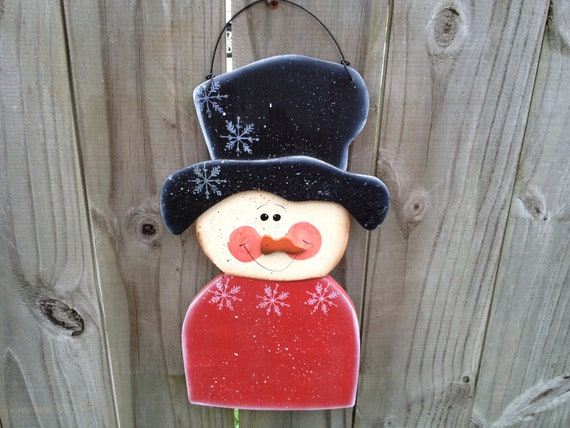 Personalized Whimsical Snowman Hang Sign