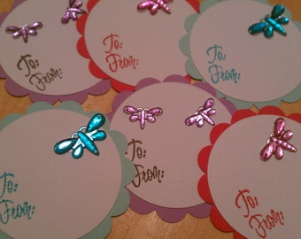 CLEARANCE Dragonfly gift tags - set of 6