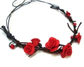 Polymer Clay Flower Rose Choker Necklace. Flower Jewelry.Red Roses. Leather Necklace. Red Jewelry