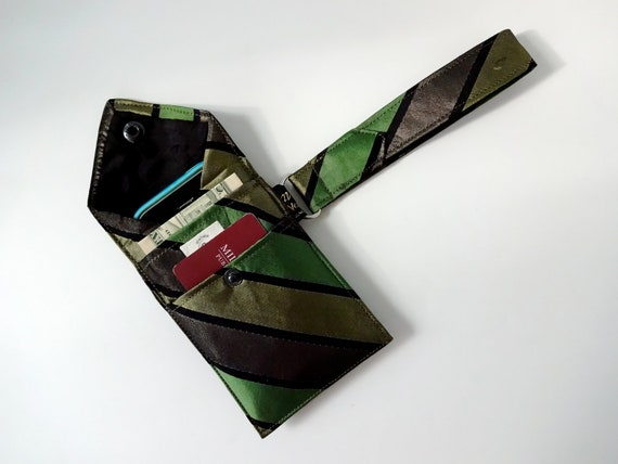 Recycled 3-Pocket Necktie Wristlet Wallet Green, Brown, Black, Silk, Striped