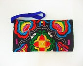 Handmade Embroidered Applique Bag: Black Chinese Embroidered Bag, for Wristlet Bag,Purse,Wallet and Cellphone Bag