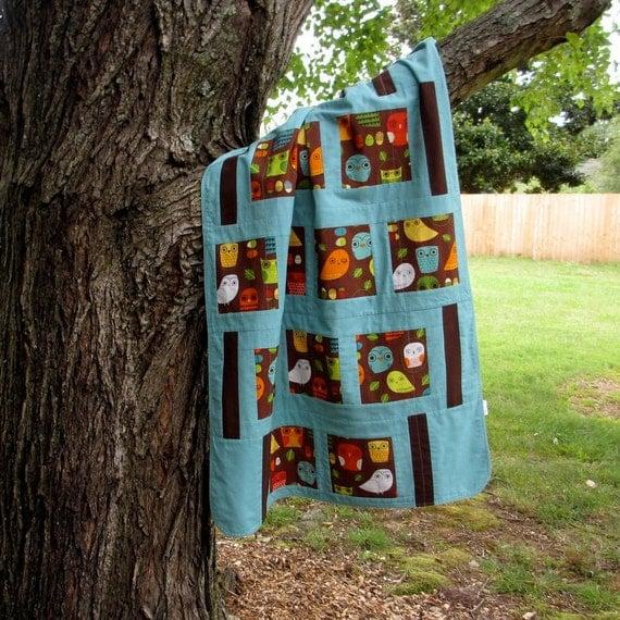Baby Blanket, Modern Baby Bedding, Owls