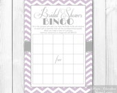 Printable Bridal Shower Bingo - Purple Lavender & Gray Chevron Bridal Shower Bingo Game. INSTANT DOWNLOAD.