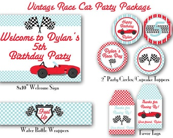 Vintage Race Car Birthday Decorations Package. Race Car Party. DIY Print-Yourself.