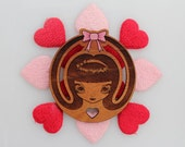 Laser wood cut brooch, hand painted, large, Sweet, doe eyed girl brooch with pink bow in hair