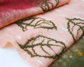 Felted Scarf Merino Wool and Silk Shawl - Autumn Leaves/Green/Burgundy Red/White/Light Rose