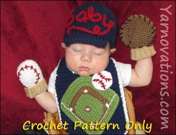 Baseball Crochet Newborn Outfit - Baseball Cap (Hat), Mitts (Mittens), Bib - Crochet Pattern