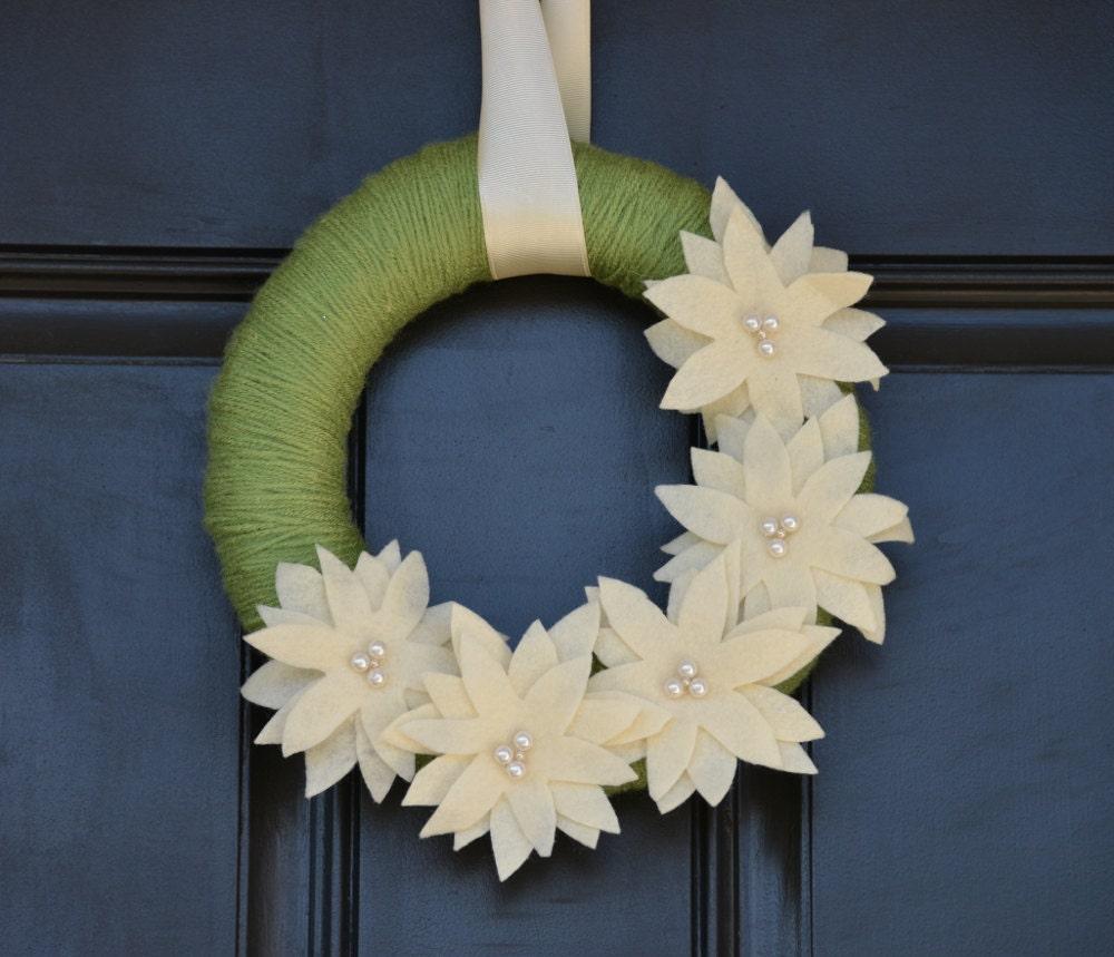 Handmade christmas wreath holiday with cream