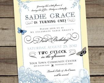 DIY Custom Printable Floral Birthday Invitation