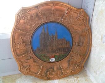 Spelter Souvenir Plate Kolner Dom Cathedral Wall Plaque Enamel & Copper Finish