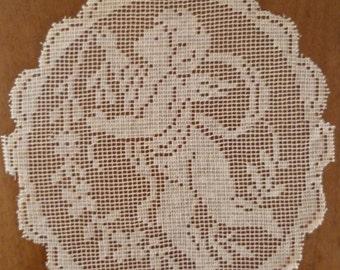 French Vintage Cherub Net Panel Circular Panel For Crafts Type 3