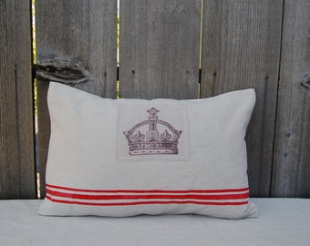 French Grain Sack Style pillowcase with Crown on the patch