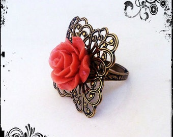 Shabby Chic Ring / Romantic Ring / Rose Ring / Gold Ring / Peach Rose / Cottage Chic Ring / Cottage Chic Jewelry / Vintage Style Jewelry