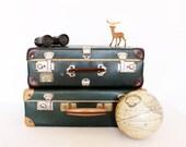 Vintage retro emerald green and cream suitcase