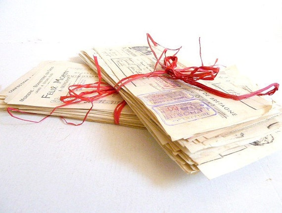 Paper ephemera. Shabby paper .Wall hanging. Old paper . Authentique .Shabby.White .Red. Antique Bills
