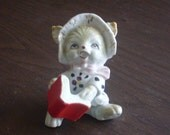 Vintage Cat with Book Figurine Made in Japan