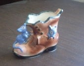 Vintage Shoe with Mice Vase Made in Japan