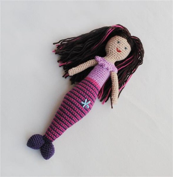 Mermaid Wool Plush Toy, Unique Gift, Pink, Child's Toy, Ready To Ship