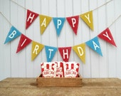 Vintage Circus Happy Birthday Burlap Banner / Photography Prop