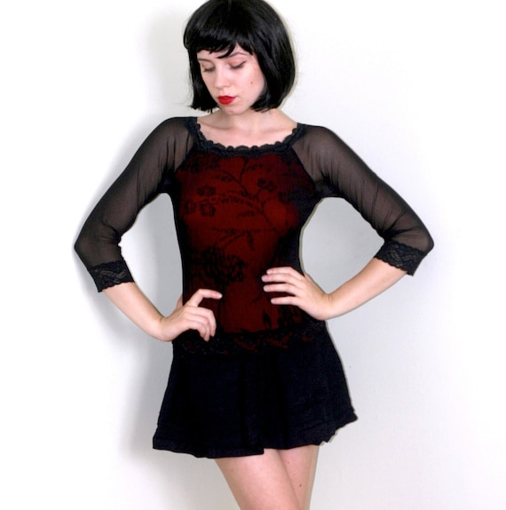 Sheer Mesh Sleeve Top w/Red Lace Insert.