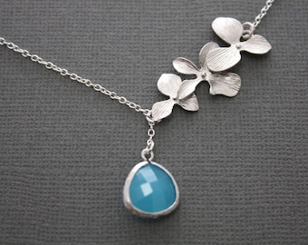 312 - Three orchid flower dangle lariat necklace with sky blue framed glass stone, Sterling Silver necklace, chic, modern