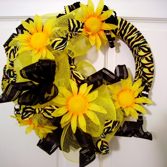 Deco mesh wreath- optional initial letter, yellow black, zebra stripe,bright yellow sunflowers, door decor,door hanger