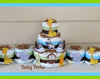 Jungle Diaper Cake , Jungle Baby Shower, Baby Shower Decorations , Jungle Theme
