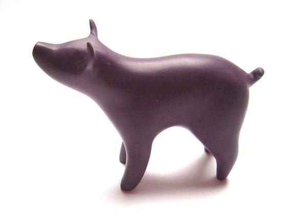 Clove - little pig sculpture in purple polymer clay decoration hand made OOAK