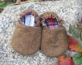 Flannel Herringbone Baby Shoes--Toffee Brown--holiday--Christmas--fully reversible