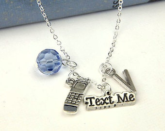 Personalized Texting Necklace with Your Initial and Birthstone