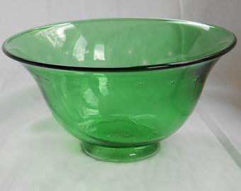 Handblown green glass bowl