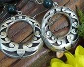 Mexican Sterling and Montana Jade Hoop vintage earrings