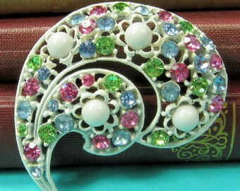White Enamel and Pastel Rhinestone Brooch