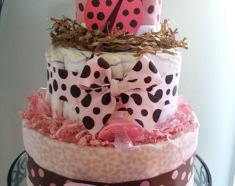 Ladybug 3 tier diaper cake baby shower decoration/centerpiece