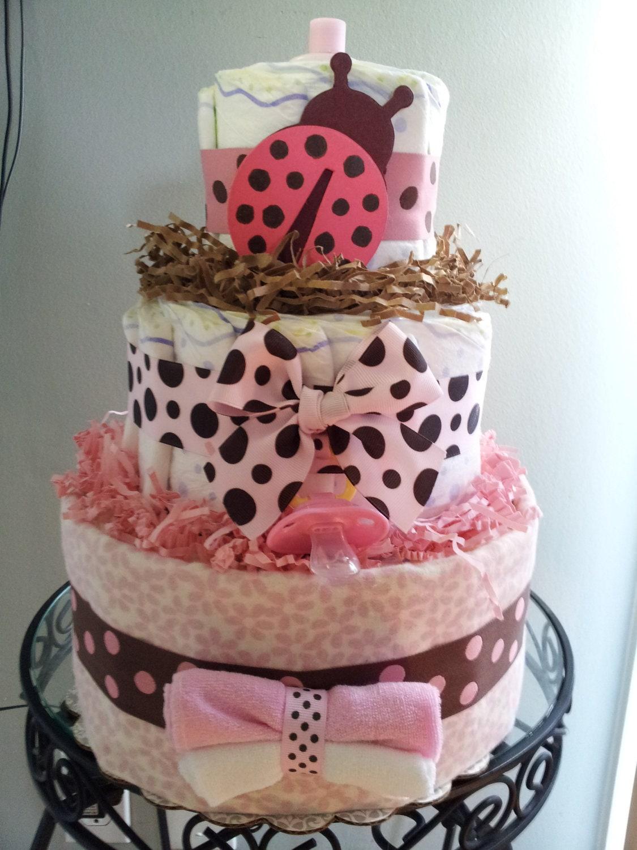 Ladybug 3 tier diaper cake baby shower decoration centerpiece for Baby diaper cake decoration
